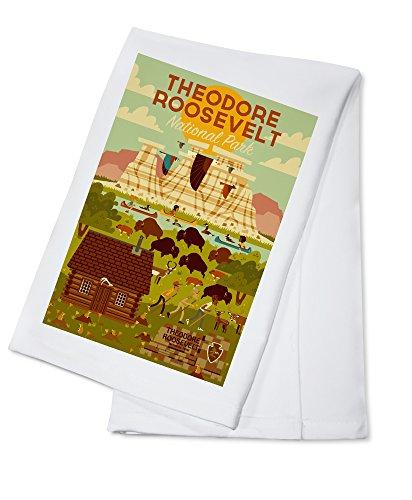 Theodore Roosevelt National Park, North Dakota - Geometric (100% Cotton Kitchen Towel) ()