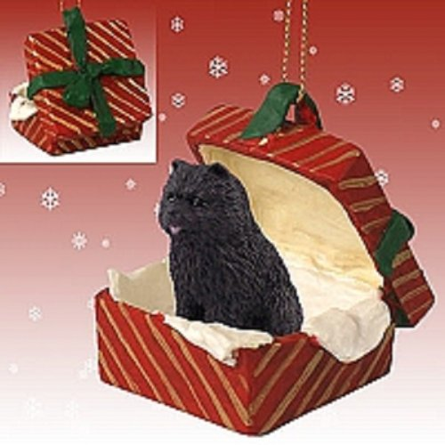 Conversation Concepts Chow Black Gift Box Red Ornament