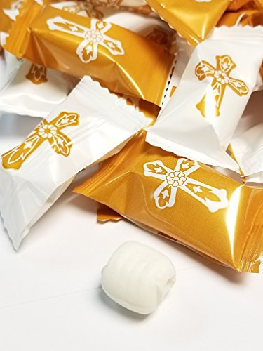 Christening OR First Communion Holy Gold Cross Themed Buttermints 100 Count Wrapped - Mint Candy