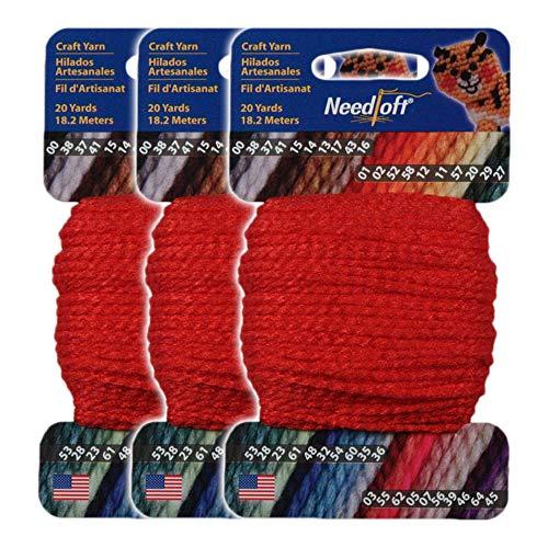 #02 Christmas Red - Needloft Craft Yarn 3 Pack 60 Yards (3x20yds)