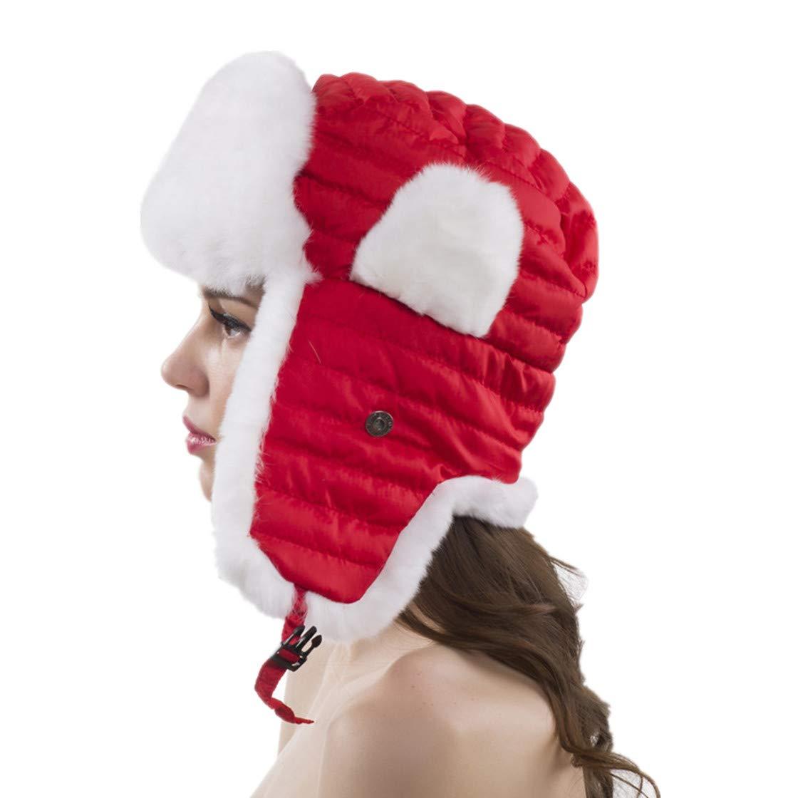 Womens Winter Bomber Hats Ushanka Aviator Skiing Rex Rabbit Fur Hat