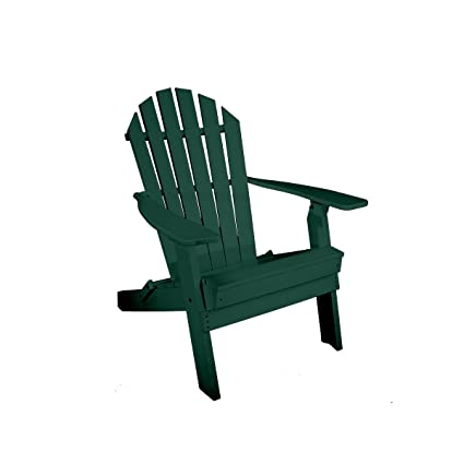 Rocky Ridge Outdoor Furniture Recycled Plastic Folding Adirondack Chair  (Turf Green)