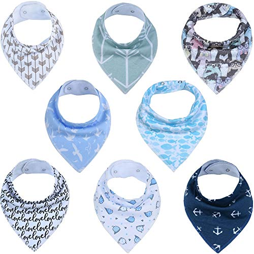 Baby Cotton Bibs Adjustable Newborn Toddler Triangle Scarf Infant Bandana Drool Bibs Burp Cloths Saliva Towel (8, - Cloth Toddler Newborn Burp