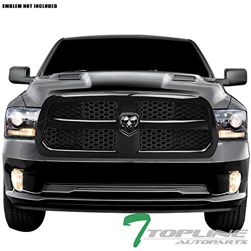 Topline Autopart Glossy Black OE Honeycomb Mesh Front Hood Bumper Grill Grille ABS For 13-17 Dodge Ram 1500