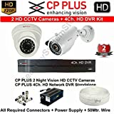 CPPLUS 2 HD CCTV Cameras (1MP) and 4Ch. HD DVR Kit with all Accessories (without Hard Disk)