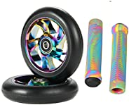 100mm Scooter Wheels - Pro Scooter Wheels 100mm Pair - 100mm Metal Core Scooter Wheels Replacement - Pro Scoot
