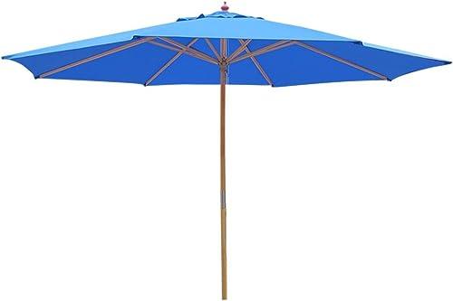 Yescom 13ft XL Outdoor Patio Umbrella w German Beech Wood Pole Beach Yard Garden Wedding Cafe Garden Blue
