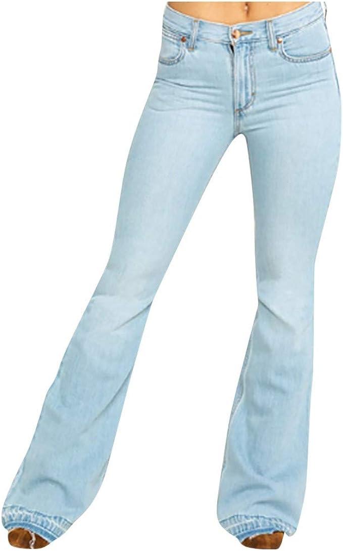 SOMESUN Damen Jeans Bootcut Jeanshose Mit Hohem Bund Casual