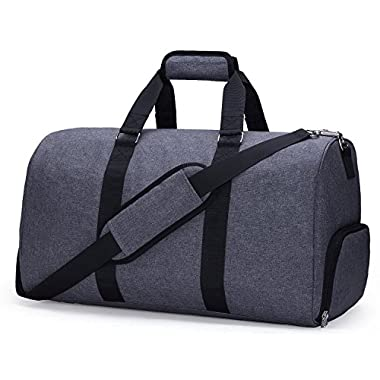 MIER 20  Travel Duffel Bag Carry On for Women and Men with Shoe Compartment(a Cosmetic Bag in set),Grey