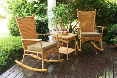 Classic Wicker Side Chair - Tortuga Outdoor 3 Piece Portside Classic Rocking Chair rockers with 1 side table (Set of 2), Amber