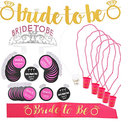 Blue Panda Bachelorette Party Supplies Kit - Pink and Gold Party Decorations and Accessories - Includes Drink If Game, Shot Glass Necklaces, Bride to Be Banner, Sash, Rhinestone Tiara]()