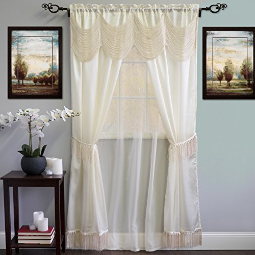 (Sweet Home Collection 6 Piece Kitchen Curtain Window Panel Set Satin Fringe Design Valance Tiebacks, 56