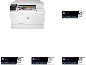 HP Color LaserJet Pro M182nw Wireless All-in-One Laser Printer, Remote Mobile Print, Scan & Copy (7KW55A) with Toner Cartridges - 4 Colors