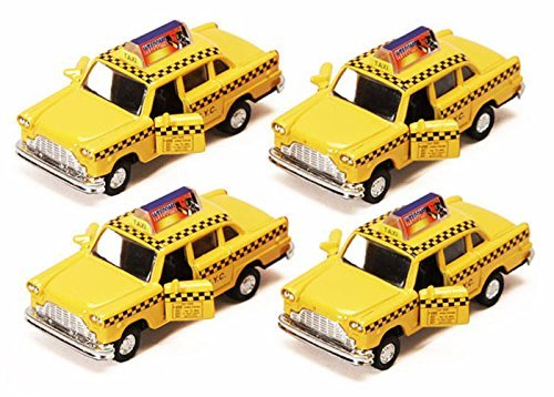 Car Taxi Diecast (Old Fashion Yellow Checker NYC Diecast Taxicabs - Set of 4)