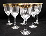 ''Cristalleria Italian Decor'' Crystal Water Beverage Goblet, 9 oz. Gold and Black Greek Key Ornament, Hand Made in Italy, SET OF 6 Glasses