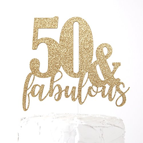 NANASUKO 50th Birthday Cake Topper - 50 & fabulous - Premium quality Made in USA