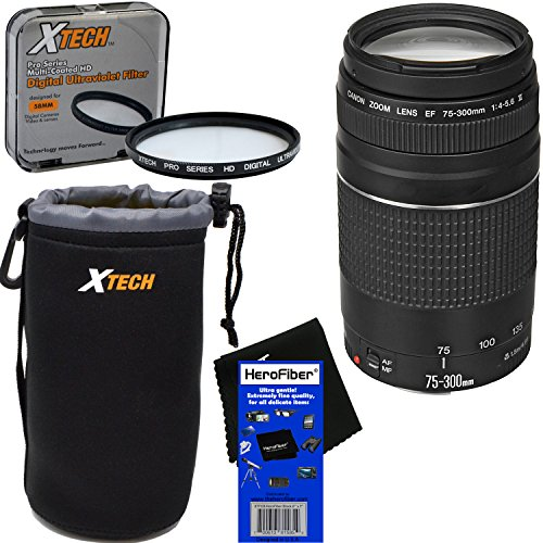 Canon EF 75-300mm f/4-5.6 III Telephoto Zoom Lens for EOS 7D, 60D, 70D, EOS Rebel SL1, T1i, T2i, T3, T3i, T4i, T5, T5i, T6, T6i, T6s, T7i, XS, XSi, XT, & XTi Digital SLR Cameras + 3pc Accessory Kit by HeroFiber