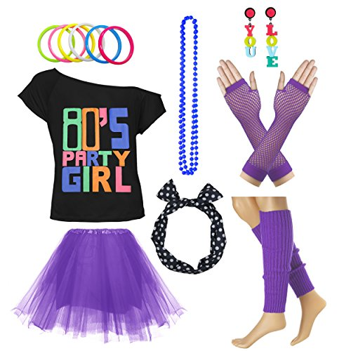 Xianhan 1980s Outfit 80's Party Girl Retro Costume Accessories Outfit Dress for 1980s Theme Party Supplies (L/XL, Purple) -