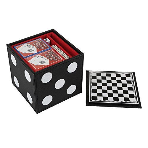 JumJoe Chess & Poker Set With Bounded Leather Case Includes 100 Chips And 2 Decks of Cards by JumJoe