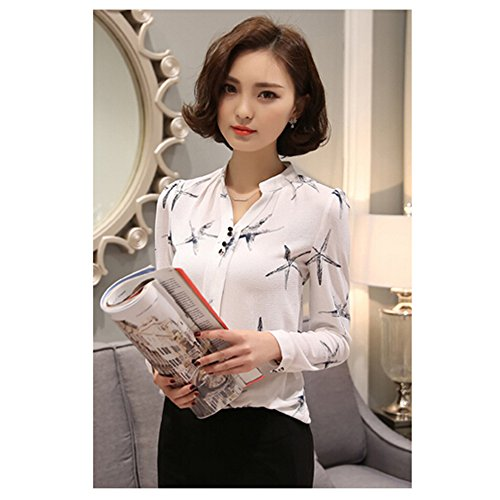 KAKA(TM) Girl Women Spring Autumn Chiffon Long Sleeve Blouses OL Style Shirt Starfish Pattern White XL