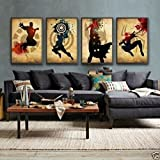 High-end Hand-painted Oil Painting 100% Hand-paiting- 4 Pieces Wall Decor Modern Thor, Spider-man, Captain America, Iron Man 。Abstract Art Oil Painting on Canvas Completely Not on Large Wood Frame Ready to Hang A1