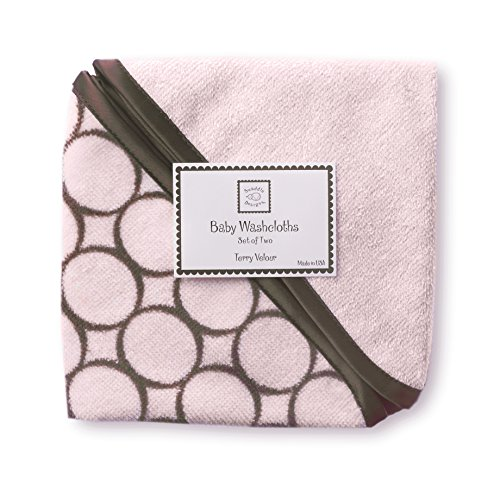 SwaddleDesigns Cotton Terry Velour Baby Washcloths, Set of 2, Brown Mod Circles on Pastel Pink