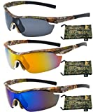 Hornz Brown Forrest Camouflage Polarized Sunglasses for Men Wrap Around Sport Frame & Free Matching Microfiber Pouch – 3 Pack Brown Camo Frame – Smoke Lens, Orange Lens, Blue Lens