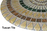 "Mosaic Table Cloth Round 36"" to 48"" Elastic Edge Fitted Vinyl Table Cover Tuscan Tile Pattern Brown Tan"