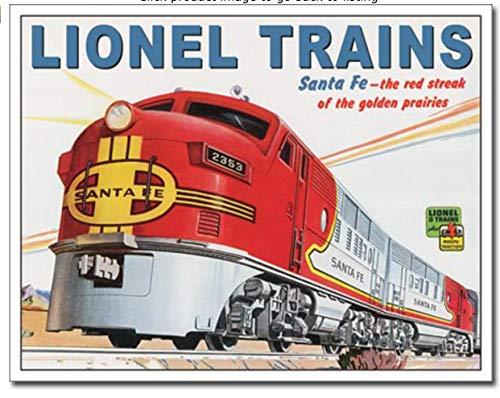 ShopForAllYou Vintage Decor Signs Lionel Santa fe Metal tin Sign Railroad Model Train Home Garage Wall Decor