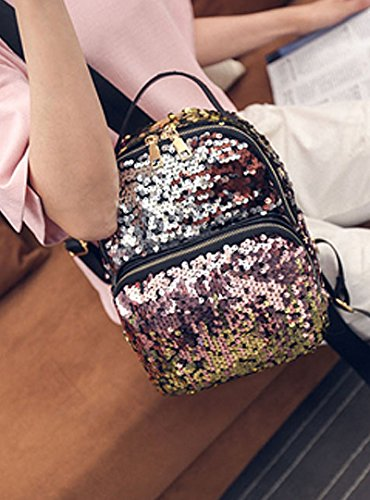 Glitter Travel Rucksack pink Backpack School Sequins Bling Bag D Shoulder Girls AiSi fYtaqwFt