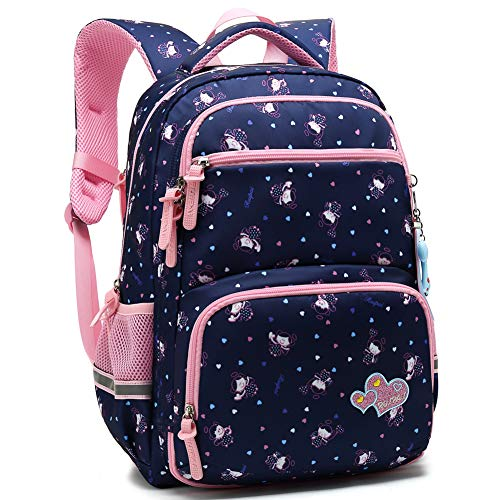 - Kids Girls School Backpack with Chest Strap Princess Cute Big Elementary Bookbag (Medium, Royalblue)