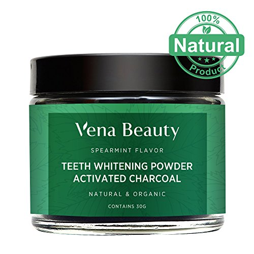 Natural Teeth Whitening Powder - Made with Organic Coconut Activated Charcoal and Food Grade Formula - Spearmint Flavor (30g)
