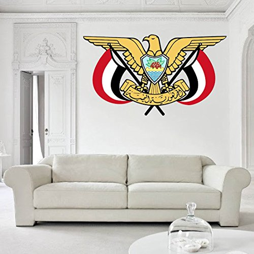 Coat Yemen (Yemen Coat of Arms Vinyl Decal Wall, Car, Laptop - 18 inch)