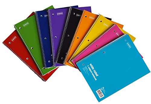 Staples Spiral Notebook 1-subject, 70-count, Wide Ruled, Assorted Colors, 6 Pack by Staples