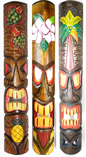 39 IN HAND CARVED BEAUTIFUL SET OF 3 POLYNESIAN TIKI GOD MASKS PINEAPPLE HIBISCUS (God Mask)