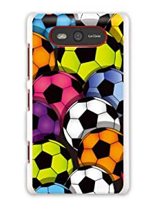 "GRÜV Premium Case - ""Football Multicolor Soccer Balls Digital Sport Art"" Design - Best Quality Designer Print on White Hard Cover - for Nokia Lumia 820"