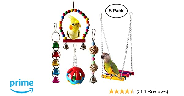 BWOGUE 5pcs Bird Parrot Toys Hanging Bell Pet Bird Cage Hammock Swing Toy  Hanging Toy for Small Parakeets Cockatiels, Conures, Macaws, Parrots, Love