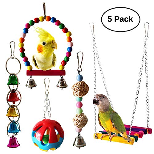 - BWOGUE Bird Swing Toys with Bells Pet Parrot Cage Hammock Hanging Toy Perch for Budgie Love Birds Conures Small Parakeet Finches Cockatiels (5 Pack)