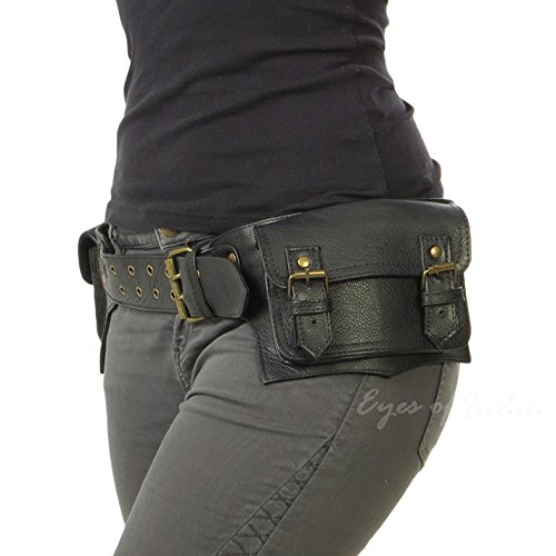 Leather Belt Bag - Eyes of India - Black Leather Belt Waist Hip Bum Bag Pouch Fanny Pack Utility Pocket Travel Phone