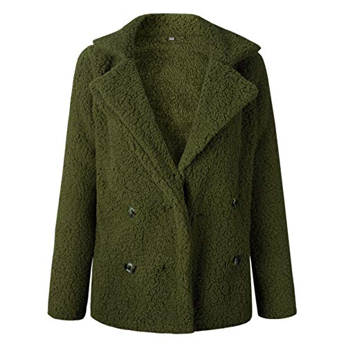 ECOWISH Womens Double Breasted Lapel Open Front Fleece Coat with Pockets Outwear Army Green ()