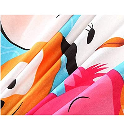 Disney Cartoon Tsum Children Bedding Set Duvet Cover/Flat Sheet/Pillow Cases Bed Linen for Children Home Decor 1.5m Bed 100% Polyester 300 Thread Count Flat Bed Sheet (Queen 4pcs): Home & Kitchen