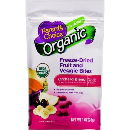 Parent's Choice Organic Orchard Blend Freeze-Dried Fruit and Veggie Bites Toddler 1 (Organic Choice Fruit)