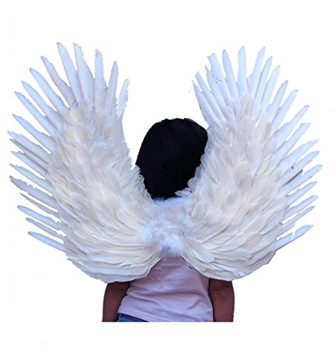 [SACASUSA (TM) Duo Use Feather Angel Wings in White 24x22 inch] (Swan Halloween Costumes)
