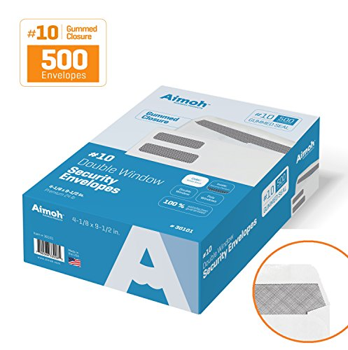 No 10 Envelope Size (#10 Double Window Security Business Mailing Envelopes for Invoices, Statements and Legal Documents - GUMMED Closure, Security Tinted - Size 4-1/8 x 9-1/2 - White - 24 LB - 500)