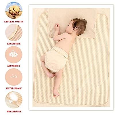 Organic Cotton Waterproof Newborn Infant Baby Bassinet Bedding Mattress Pads Bed Wet Diaper Cradle Crib Stroller Absorbent Changing Mat Nursing Incontinence Sheet for Toddler Adults