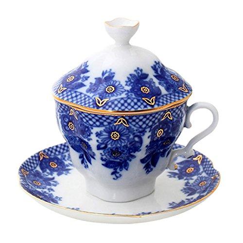 Lomonosov Porcelain Covered Tea Cup with Saucer Tea Maker Basket 8.45 fl.oz/250 ml