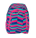 School Backpack for Boys and Girls, Sturdy and Water-Resistant (Pink, Blue, Green Zig Zag)