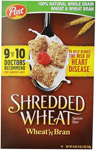 Post, Shredded Wheat, Wheat & Bran Cereal, 18 oz (Best Wheat Bran Cereal)