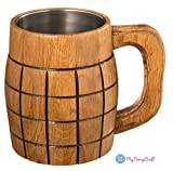 Handmade Beer Mug 0.6L 20oz Oak Wood Stainless Steel Cup Natural Eco-Friendly Gift Grenade Beige