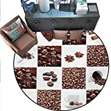 Kitchen Circle Rugs Coffee Roasted Beans Concept Collage Hearts Stars Espresso Latte Mugs